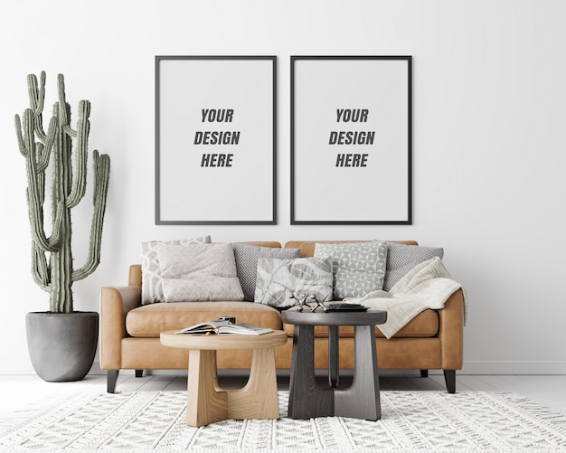 Interior living room frame mockup