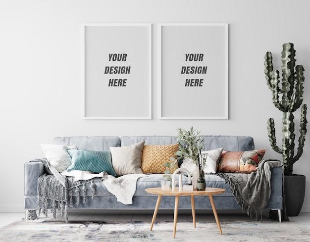 Interior living room frame mockup