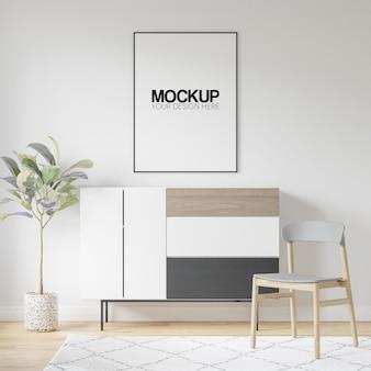 Interior poster frame mockup mit moderner möbeldekoration 3d illustration 3d render