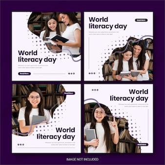 International literacy day instagram post bundle vorlage premium psd