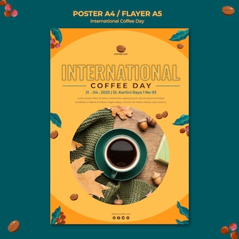 Internationale kaffeetag flyer vorlage