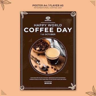 Internationale kaffeetag-konzeptplakatschablone