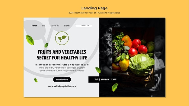 Internationale landingpage für obst und gemüse Kostenlosen PSD