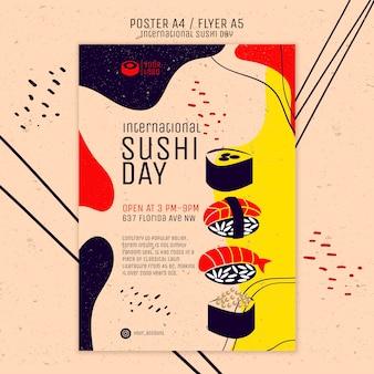 Internationale sushi day flyer vorlage