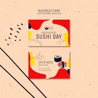Internationale sushi-tages-visitenkarte