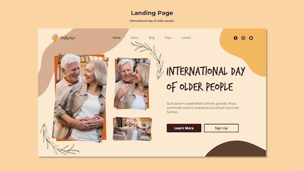 Internationale tag der landingpage der vorlage für ältere menschen