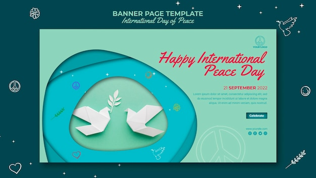 Internationale tag des friedens bannerseite mit papiervögeln