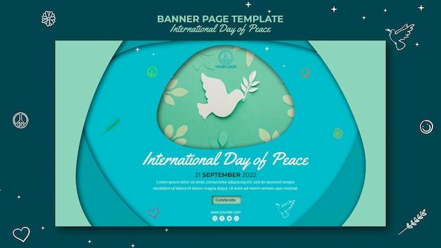 Internationale tag des friedens bannerseite mit papiervogel