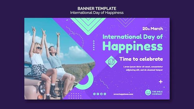 Internationale tag des glücks banner vorlage
