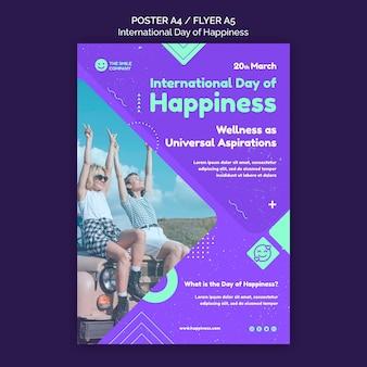 Internationale tag des glücks flyer vorlage