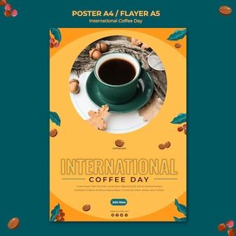 Internationaler flyer zum kaffeetag
