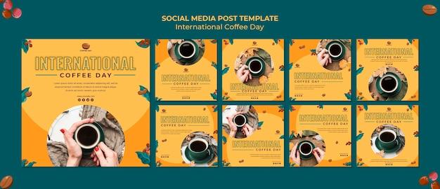 Internationaler kaffeetag social media post