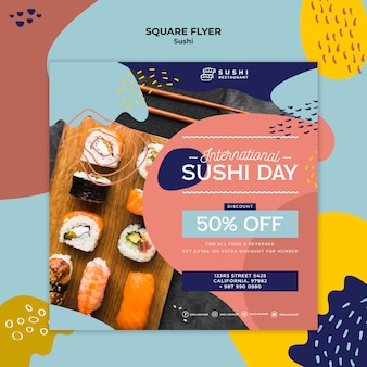Internationaler sushi day square flyer