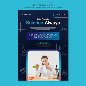 Internationaler tag der frauen und mädchen in der wissenschaftsdruckvorlage