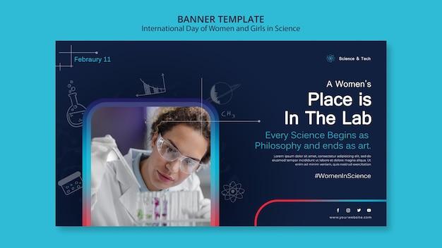 Internationaler tag der frauen und mädchen in der wissenschaftsfahnenschablone