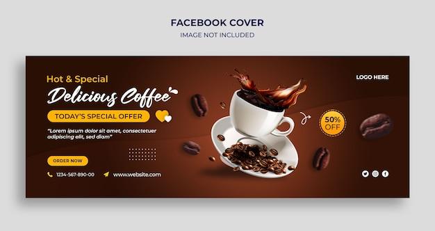 Internationaler tag des kaffees facebook timeline cover und web-banner-vorlage