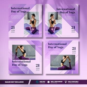 Internationaler tag des yoga social media bannersammlung