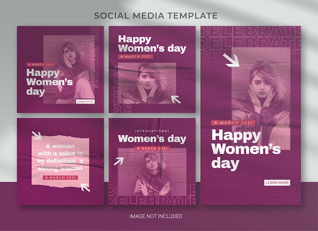 Internationales frauentag social media pack bundle template design