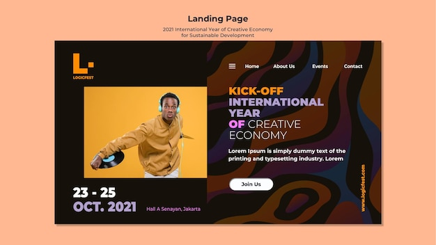 Internationales jahr der kreativwirtschaft für landingpage für nachhaltige entwicklung