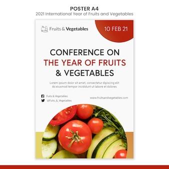 Internationales jahr der obst und gemüse flyer vorlage