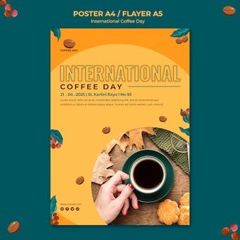Internationales kaffeetag-flyer-design