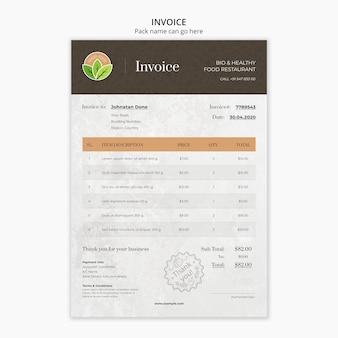 Invoive schablone des gesunden lebensmittelrestaurants