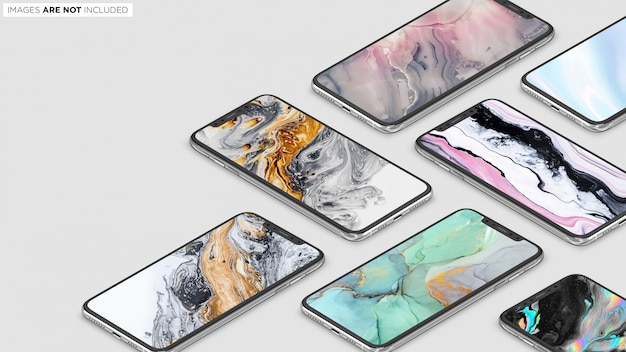 Iphone xs max sammlung szene psd mockup