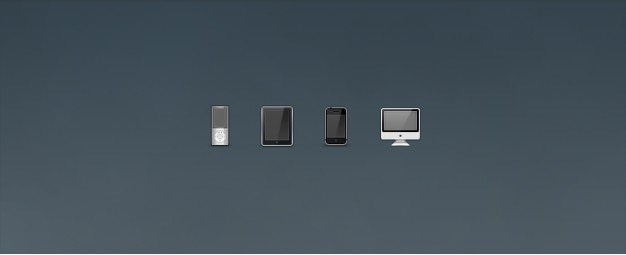 Ipod, ipad, iphone und imac icons