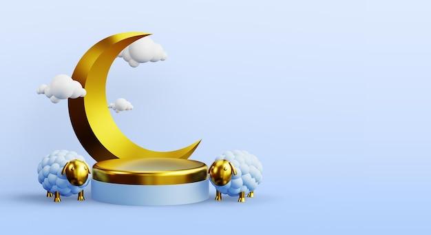 Islamische podiumsdekoration mit goldenen schafen und mond 3d-rendering
