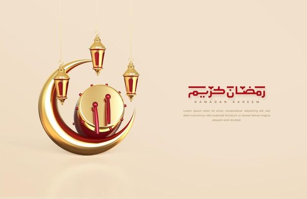 Islamische ramadan-grüße, komposition mit 3d-halbmond und hängenden arabischen laternen
