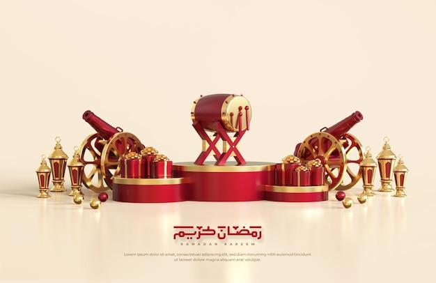 Islamische ramadan-grüße, komposition mit arabischer 3d-laterne, traditioneller kanone und geschenkbox auf rundem podium