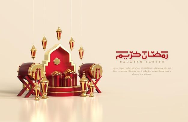 Islamische ramadan-grüße, komposition mit arabischer 3d-laterne, traditioneller trommel und geschenkbox auf rundem podium