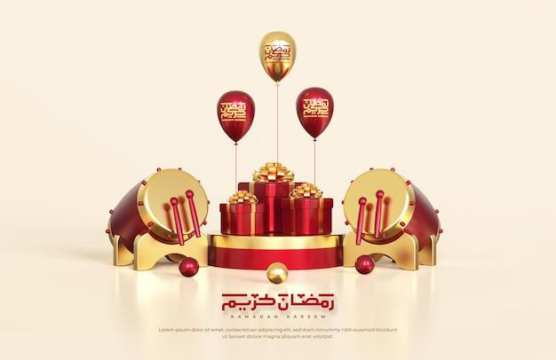 Islamische ramadan-grüße, komposition mit traditioneller 3d-trommel und geschenkboxen auf rundem podium