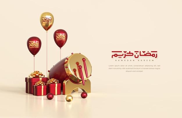 Islamische ramadan-grüße, komposition mit traditioneller 3d-trommel und geschenkboxen