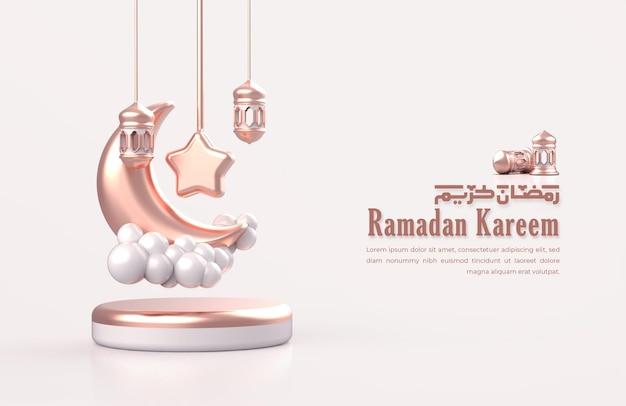 Islamische ramadan-grußkarte mit 3d-halbmond, sternen und hängender arabischer laterne