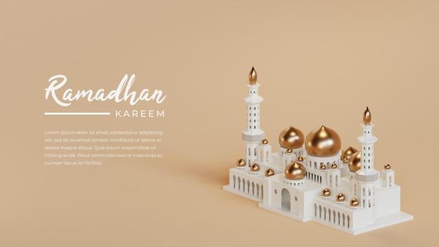 Islamische ramadan-grußkartenschablone mit 3d halbmond und arabischer laterne