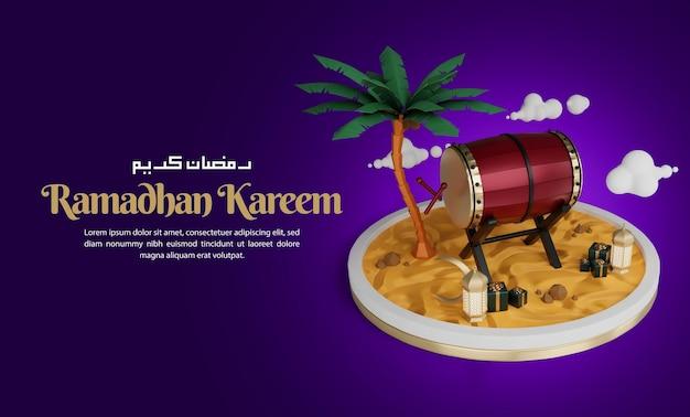 Islamische ramadan-kareem-begrüßungshintergrundfahnenschablone mit realistischen dekorativen elementen rendern
