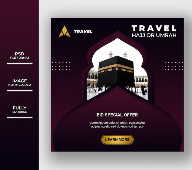 Islamische umrah und hadsch tour und reise banner vorlage