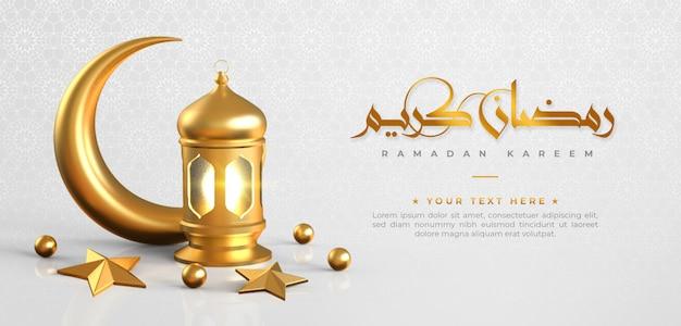 Islamischer grußhintergrund des ramadan kareem mit halbmond, laterne, stern und arabischem muster und kalligraphie