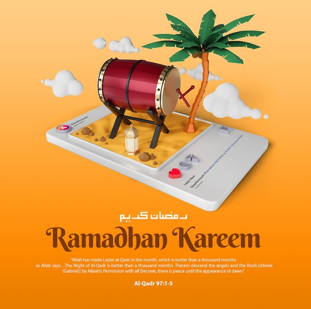Islamischer ramadan kareem gruß social media instagram post und banner mit 3d-illustrationsschablone