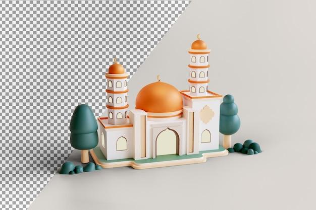 Islamisches ausstellungsdekorationsmoscheengebäude mit goldener kuppel