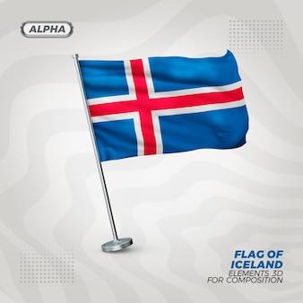 Island realistische strukturierte 3d-flagge für komposition