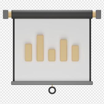 Isolierte 3d-darstellung des diagramms im bildschirmprojektor-symbol psd