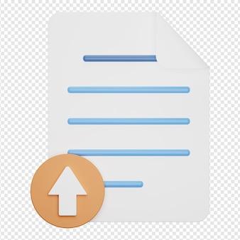 Isolierte 3d-darstellung des upload-dokumentsymbols