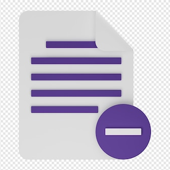 Isolierte 3d-darstellung von dokument löschen symbol psd