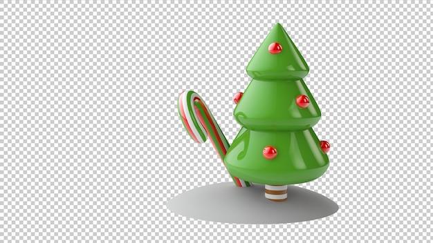 Isolierte 3d-illustration des weihnachtsbaums und des lutschers