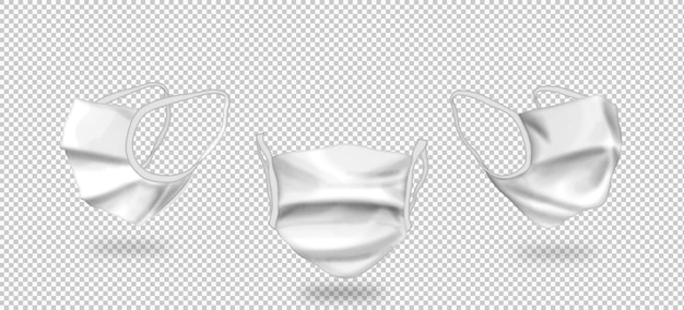 Isolierte 3d-masken mit drei ansichten