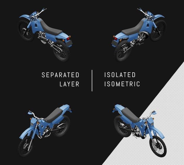 Isolierte blaue sport trail motorrad isometrische motorrad set