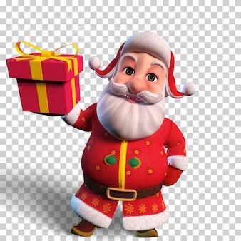 Isolierte charakterillustration des weihnachtsmannes mit geschenkbox für weihnachtsentwurf