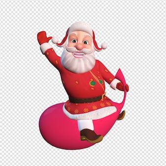 Isolierte charakterillustration des weihnachtsmanns, der auf großer roter tasche sitzt